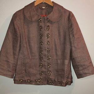 Boden Brown Linen/Cotton Blend Blazer Size 6